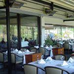The terrasSchwank terrace heater on the terrace of a restaurant.
